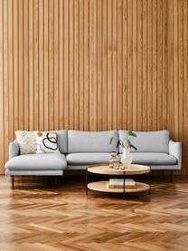 Hoekbank Moby in lichtgrijs met metalen poten, Bekleding: polyester De hoogwaardige, Frame: massief grenenhout, Poten: gepoedercoat metaal, Lichtgrijs, B 280 x D 160 cm