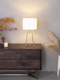 Lampada da tavolo con base dorata Karolina, Paralume: cotone, Base della lampada: metallo ottonato, Paralume: bianco Base della lampada: ottone lucido Cavo: trasparente, Ø 25 x Alt. 49 cm