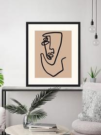 Ingelijste digitale print Abstract Face, Afbeelding: digitale print op papier,, Lijst: gelakt hout, Zwart, donkerbeige, 53 x 63 cm