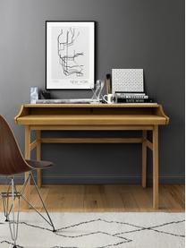 Scrivania stretta allungabile Carteret, Gambe: legno massiccio di querci, Marrone chiaro, Larg. 115 x Alt. 84 cm