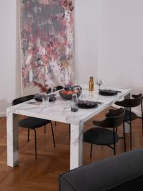 Eettafel Carl in marmerlook, MDF bedekt met gelakt papier in marmerlook, Wit gemarmerd, glanzend, 180 x 90 cm