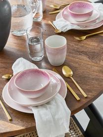 Handgemachte Schälchen Amalia mit effektvoller Glasur, 2 Stück, Porzellan, Hellrosa, Cremeweiß, Ø 14 x H 7 cm