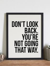Gerahmter Digitaldruck Don't Look Back, Bild: Digitaldruck auf Papier, , Rahmen: Holz, lackiert, Front: Plexiglas, Bild: Schwarz, Weiß Rahmen: Schwarz, 33 x 43 cm