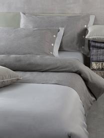 Completo copripiumino in raso di cotone Charme, Raso di cotone, Grigio chiaro, grigio, 200 x 255 cm + 2 federe + 1 lenzuolo con angoli