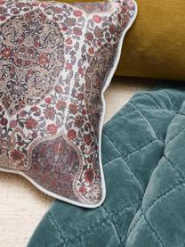 Gemusterte Samt-Kissen Giulia mit Kederumrandung, mit Inlett, Bezug: 100% Polyestersamt, Blautöne, Rot, 30 x 50 cm