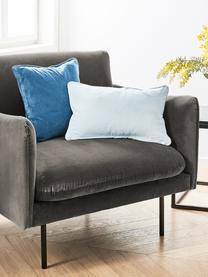 Fluwelen fauteuil Moby in bruingrijs met metalen poten, Bekleding: fluweel (hoogwaardig poly, Frame: massief grenenhout, Poten: gepoedercoat metaal, Fluweel bruingrijs, B 90 x D 90 cm
