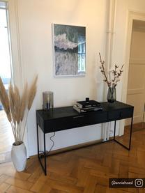 Wandtafel Silas met 2 lades, Frame: geborsteld en gelakt eike, Frame: gelakt metaal, Zwart, B 140 x D 40 cm