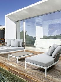 Łóżko ogrodowe Pelican, 2 elem., Rama: biały Siedzisko i oparcie: taupe Pokrycie: szary, S 182 x G 179 cm