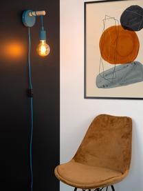 Wandleuchte Paulien mit Stecker, Blau, Braun, 12 x 22 cm