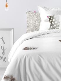 Dubbelzijdig dekbedovertrek Light, Katoen, Bovenzijde: wit, grijs, bruin. Onderzijde: wit, 140 x 200 cm + 2 kussen 60 x 70 cm