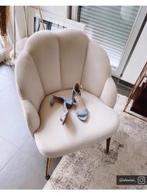 Fotel koktajlowy z aksamitu Helle, Tapicerka: aksamit (poliester) Dzięk, Nogi: metal malowany proszkowo, Aksamitny kremowobiały, S 65 x G 65 cm