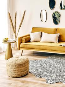 Sofa z aksamitu z nogami z drewna dębowego Saint (3-osobowa), Tapicerka: aksamit (poliester) Dzięk, Aksamitny musztardowy, S 210 x G 93 cm
