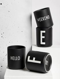 Design Becher Favourite HELLO in Schwarz mit Schriftzug, Fine Bone China (Porzellan) Fine Bone China ist ein Weichporzellan, das sich besonders durch seinen strahlenden, durchscheinenden Glanz auszeichnet., Schwarz, Weiß, Ø 8 x H 9 cm