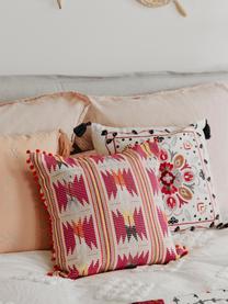 Bunte Kissenhülle Maria mit Pompoms, 60% Acryl, 40% Baumwolle, Vorderseite: MehrfarbigRückseite: Beige, 45 x 45 cm