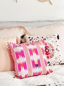 Poszewka na poduszkę z pomponami Maria, 60% akryl, 40% bawełna, Przód: wielobarwny Tył: beżowy, S 45 x D 45 cm