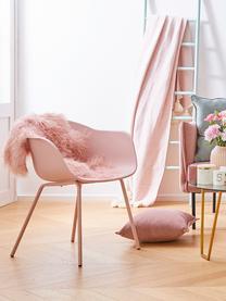 Krzesło z podłokietnikami z tworzywa sztucznego Claire, Nogi: metal malowany proszkowo, Różowy, S 54 x G 60 cm