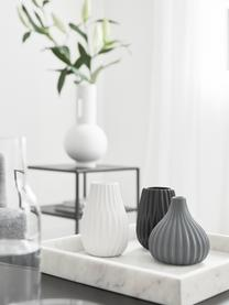 Set 3 vasi in gres Wilma, Gres, Blu, nero, bianco, Ø 9 x Alt. 11 cm