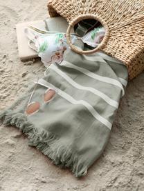 Gestreiftes Hamamtuch Filena, 100% Baumwolle, Jadegrün, Weiß, 100 x 180 cm