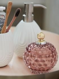 Opbergpot Miya, Glas, Roze, transparant, goudkleurig, Ø 10 x H 11 cm