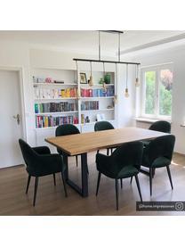 Krzesło z podłokietnikami z aksamitu Rachel, Tapicerka: aksamit (wysokiej jakości, Nogi: metal malowany proszkowo, Aksamitny ciemny zielony, S 56 x G 70 cm