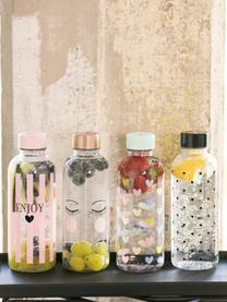Bouteille Enjoy, Bouteille: transparent, rose, noir Couvercle: noir