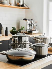 Kochtöpfe Elegance aus Edelstahl, 4er-Set, Deckel: Glas, 18/10 Edelstahl, Edelstahl, Transparent, Set mit verschiedenen Größen