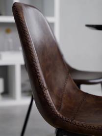 Kunstleder-Polsterstühle Linus, 2 Stück, Bezug: Kunstleder (65% Polyethyl, Beine: Metall, pulverbeschichtet, Braun, B 41 x T 53 cm