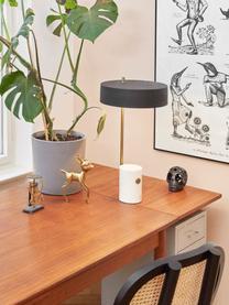 Lampada da tavolo con base in marmo Phant, Paralume: metallo rivestito, Base della lampada: marmo, Bianco, nero, Larg. 30 x Alt. 53 cm