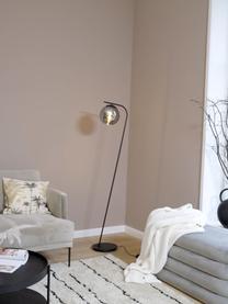 Lampadaire salon chromé Amos, Noir, transparent