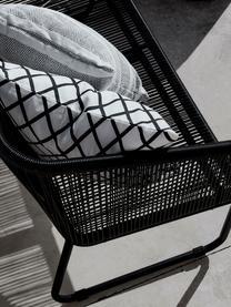 Panca intrecciata da giardino Moa, Seduta: intreccio polietilene, Struttura: metallo verniciato a polv, Nero, Larg. 118 x Prof. 64 cm