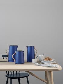 Teezubereiter Emma in Blau, 1 L, Korpus: Edelstahl, Beschichtung: Emaille, Griff: Buchenholz, Blau, Beige, 1 L