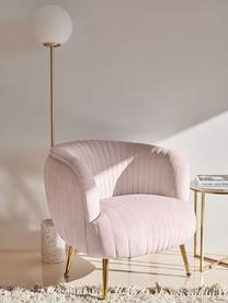 Fauteuil cocktail en velours rose pastel Cara, Velours rose pastel