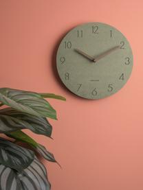 Reloj de pared de madera Dura, Tablero de fibras de densidad media(MDF), Verde, latón, Ø 29 x F 3 cm