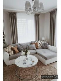 Tavolino da salotto con piano in vetro Antigua, Piano d'appoggio: vetro opaco stampato, Struttura: acciaio, cromato, Bianco-grigio marmorizzato, argento, Ø 80 x Alt. 45 cm