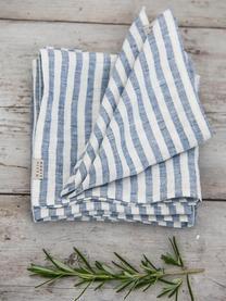 Tovagliolo in lino Solami 6 pz, Lino, Azzurro, bianco, Larg. 46 x Lung. 46 cm