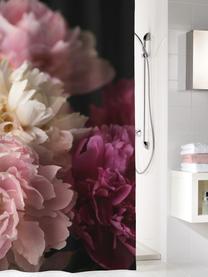 Duschvorhang Rosemarie mit Blumen-Muster, 100% Polyester Wasserabweisend, nicht wasserdicht, Schwarz, Rosatöne, 180 x 200 cm