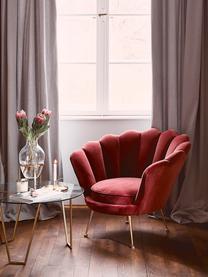 Fauteuil lounge en velours rouge Trapezium, Rouge foncé