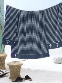 Strandlaken Sail Away, Donkerblauw, wit, 100 x 180 cm