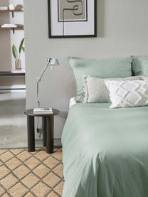 Parure copripiumino in cotone percalle con pompon Bommy, Verde, 155 x 200 cm + 1 federa 50 x 80 cm