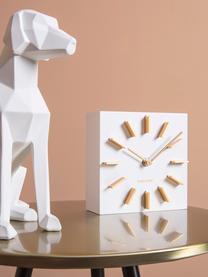 Zegar stołowy Discreet, Płyta pilśniowa (MDF), Biały, odcienie złotego, S 15 x W 15 cm
