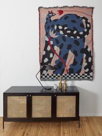 Credenza retrò con intreccio viennese Vienna, Piedini: metallo verniciato a polv, Nero, beige, Larg. 165 x Alt. 78 cm