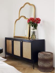 Retro dressoir Vienna met Weens vlechtwerk, Frame: massief mangohout, gelakt, Poten: gepoedercoat metaal Bambo, Zwart, beige, 165 x 78 cm