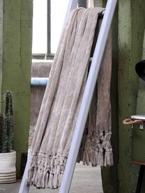 Weiches Plaid Bishop mit Fransenabschluss, 100% Polyethylen, Beige, 130 x 160 cm