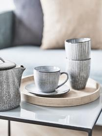 Tasse avec sous-tasse faite à la main Nordic Sea, Tons gris et bleus