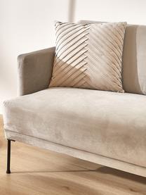 Poszewka na poduszkę z aksamitu Lucie, 100% aksamit (poliester) Należy pamiętać, że aksamit może wydawać się jaśniejszy lub ciemniejszy w zależności od kąta padania światła, Odcienie szampańskiego, S 45 x D 45 cm