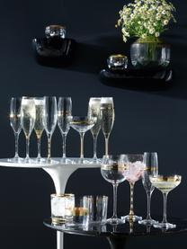 Coupe à champagne avec décor doré Deco, 8élém., Transparent, couleur dorée