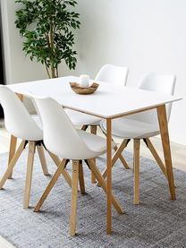 Stół do jadalni z jasnym blatem Vojens, Blat: płyta pilśniowa średniej , Nogi: drewno kauczukowe, Biały, brązowy, S 120 x G 70 cm