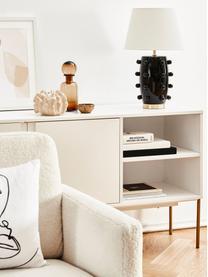 Grote keramische tafellamp Leandra, Lampvoet: keramiek, Lampenkap: textiel, Voetstuk: vermessingd metaal, Lampvoet: zwart. Lampenkap: messingkleurig. Witte snoer: transparant, Ø 36 x H 57 cm