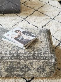 Vintage vloerkussen Rebel, Bekleding: 95% katoen, 5% polyester, Donkergrijs, crèmekleurig, 70 x 26 cm