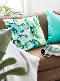 Federa arredo con stampa cactus Tobin, Cotone, Verde, bianco crema, Larg. 40 x Lung. 40 cm